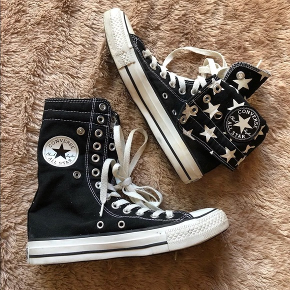 Converse All Star extra high top black stars 7